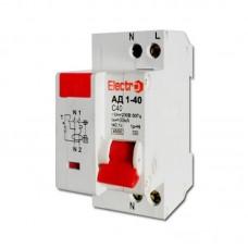 Вимикач диференційного струму АД1-40, 10А, 30мА, 1P+N