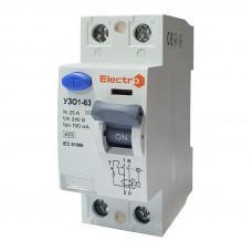 Пристрій захисного відключення УЗО1-63, 2P, 25А, 100мА