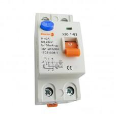 Пристрій захисного відключення УЗО1-63, 2P, 16А, 30мА