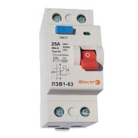 Пристрій захисного відключення ПЗВ1-63, 2P, 63А, 30мА (6кА)