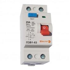 Пристрій захисного відключення ПЗВ1-63, 2P, 16А, 100мА (6кА)