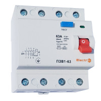 Пристрій захисного відключення ПЗВ1-63, 4P, 63А, 30мА (6кА)