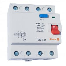 Пристрій захисного відключення ПЗВ1-63, 4P, 16А, 30мА (6кА)