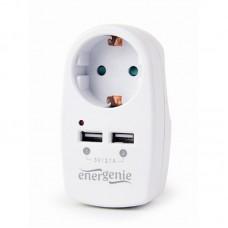 Розетка прохідна 250В/16А з зарядним пристроєм USB (2USB, 5В, 2.1А),