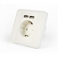 Розетка внутрішня 250В/16А з зарядним пристроєм USB (2USB, 5В, 2.4А),