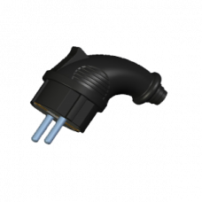 Вилка переносна кутова, РС-К012К, 2P+PE, 16А, 250В, IP44