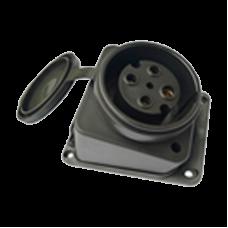 Розетка зовнішня кутова з заглушкою, РС-К124К, 3P+PE, 32А, 400В, IP44