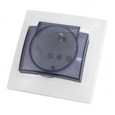 Розетка з заземленням (2P+PE) та захисною кришкою, біла, 16А (250В), IP42