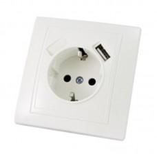 Розетка з заземленням (2P+PE) прихованого монтажу, біла, 16А (250В) + USB-порт 2,1А (5В)