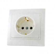 Розетка з заземленням (2P+PE) прихованого монтажу, біла, 16А (250В)