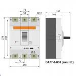 Автоматичний вимикач ВА77-1-800, 3п, 630А (тип HE)