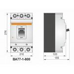 Автоматичний вимикач ВА77-1-800, 3п, 700А (тип HR)