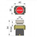 Кнопка нажимна PB2-ВА4343, червона (стоп)