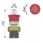 Кнопка нажимна PB2-ВS142, грибок з ключем, 40 мм