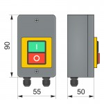 "Пост кнопка ""старт-стоп"" ПК722-2(3Р) з кабельним вводом MG, IP65"