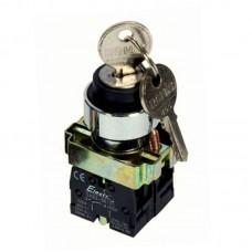 """Перемикач кнопковий двопозиційний з ключем """"І-ІІ"""", PB2-BG25, чорний"""