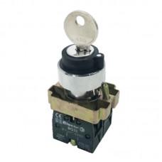 """Перемикач кнопковий трипозиційний з ключем """"І-0-ІІ"""", PB2-BG33, чорний"""