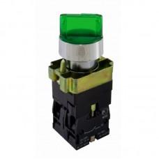 """Перемикач кнопковий трипозиційний з підсвіткою """"І-0-ІІ"""", PB2-BK2365, зелений"""