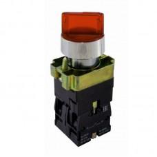 """Перемикач кнопковий трипозиційний з підсвіткою """"І-0-ІІ"""", PB2-BK2465, червоний"""