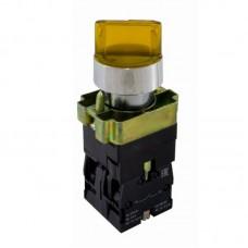 """Перемикач кнопковий трипозиційний з підсвіткою """"І-0-ІІ"""", PB2-BK2565, жовтий"""